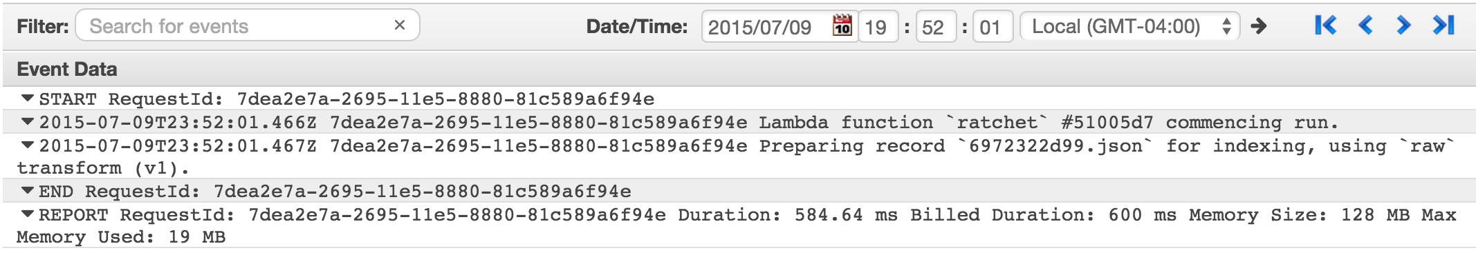 CloudWatch Logs with Lambda Output